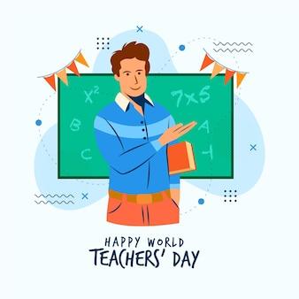 Platte ontwerp leraren dag concept