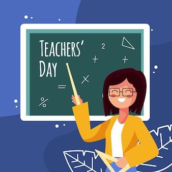 Platte ontwerp leraren dag met illustratie van de vrouw