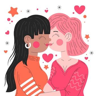 Platte ontwerp lesbisch koppel kus illustratie