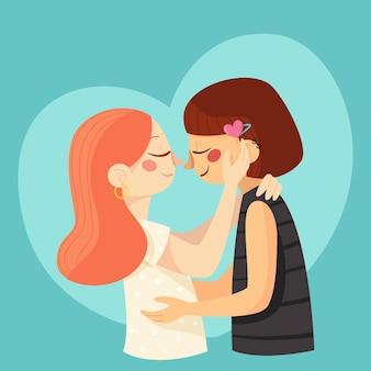 Platte ontwerp lesbisch verliefd koppel geïllustreerd