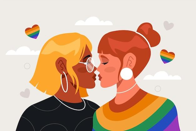 Platte ontwerp lesbische kus