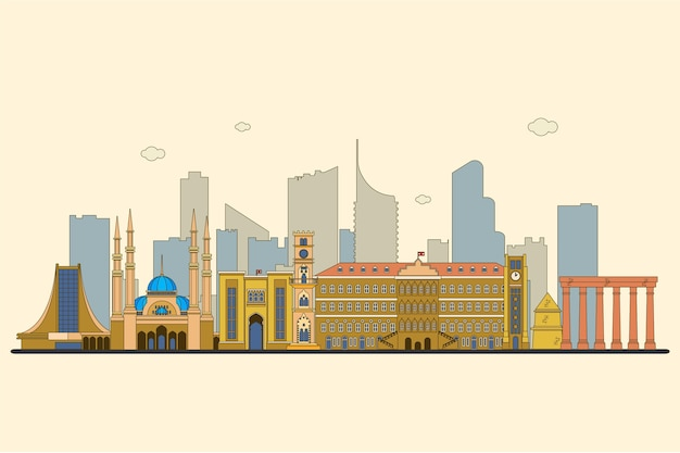 Platte ontwerp libanon skyline