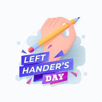 Platte ontwerp linkshandige dag illustartion