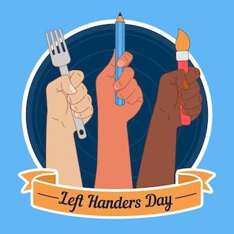 Platte ontwerp linkshandigen dag illustratie