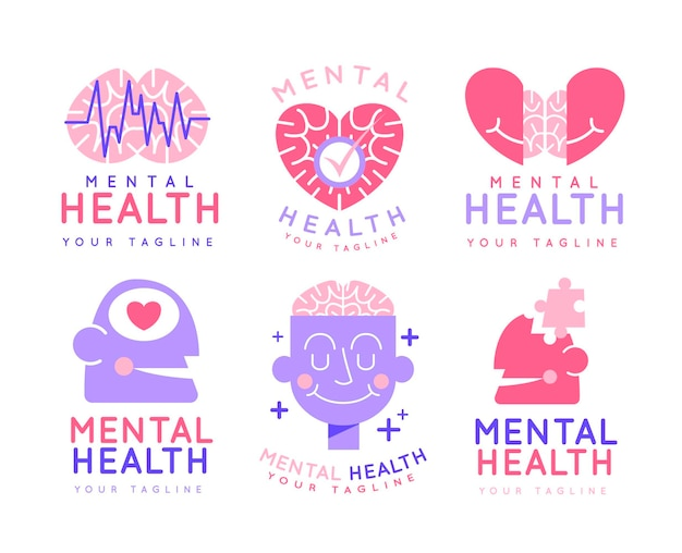 Platte ontwerp logo-collectie voor geestelijke gezondheid