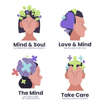 Platte ontwerp logo's voor geestelijke gezondheid
