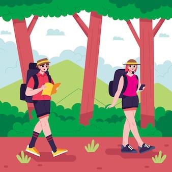 Platte ontwerp lokaal toerisme concept met wandelaars
