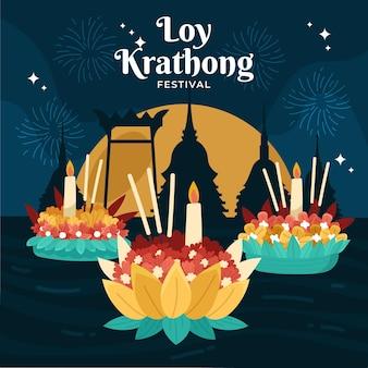 Platte ontwerp loy krathong concept