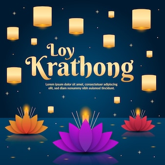Platte ontwerp loy krathong-feest