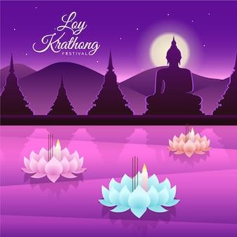 Platte ontwerp loy krathong-manden
