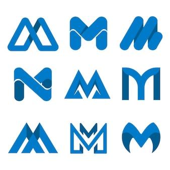 Platte ontwerp m logo collectie