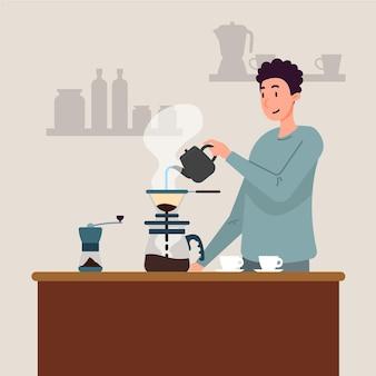 Platte ontwerp man die koffie maakt