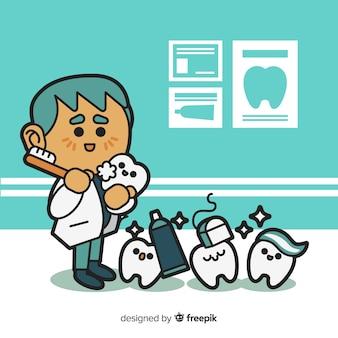 Platte ontwerp man tandarts karakter