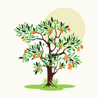 Platte ontwerp mangoboom met bladeren