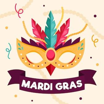 Platte ontwerp mardi gras achtergrond met masker