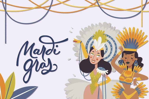 Platte ontwerp mardi gras feest evenement