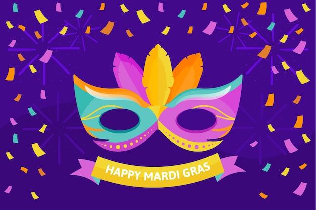 Platte ontwerp mardi gras masker illustratie