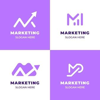 Platte ontwerp marketing logo set