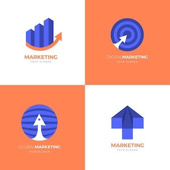 Platte ontwerp marketing logo sjabloon set