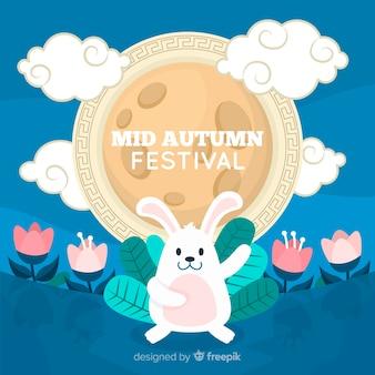Platte ontwerp medio herfst festival hand getrokken