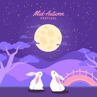 Platte ontwerp medio herfst festival