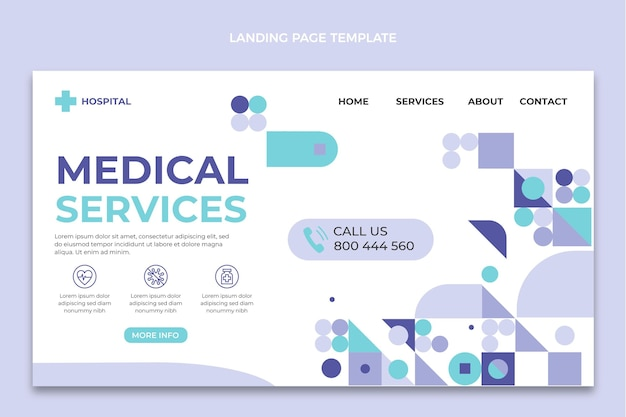 Platte ontwerp medische diensten bestemmingspagina