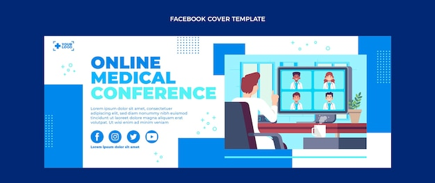 Platte ontwerp medische facebook-omslag