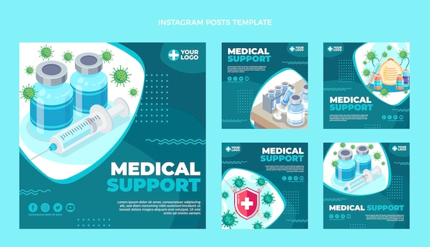 Platte ontwerp medische ondersteuning instagram-berichten
