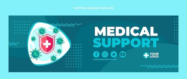 Platte ontwerp medische ondersteuning twitter header