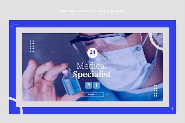 Platte ontwerp medische youtube-kanaalafbeeldingen