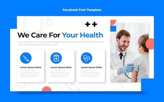Platte ontwerp medische zorg facebook post