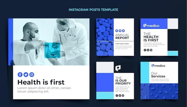Platte ontwerp medische zorg instagram-berichten