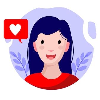 Platte ontwerp meisje gelukkig karakter vectorillustratie