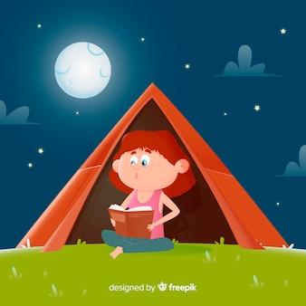 Platte ontwerp meisje het lezen van een boek in een tent