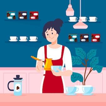 Platte ontwerp meisje koffie maken