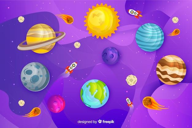 Platte ontwerp melkweg planeten set