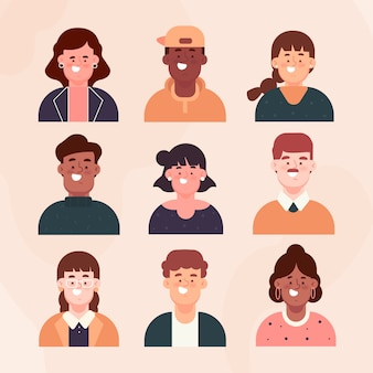 Platte ontwerp mensen avatars set