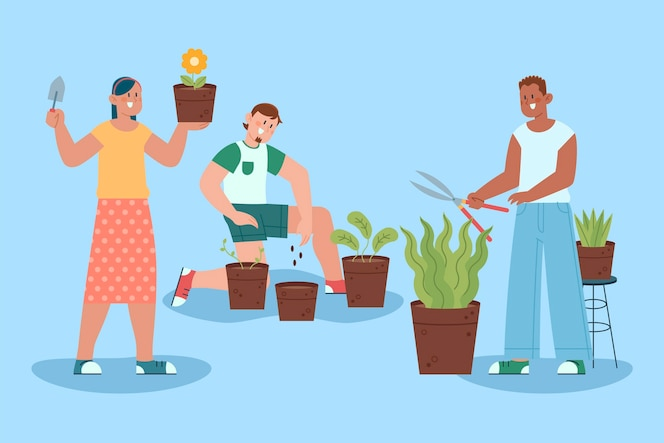 Platte ontwerp mensen die voor planten zorgen