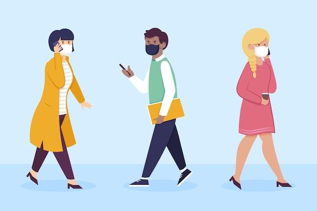 Platte ontwerp mensen gaan weer aan het werk met gezichtsmasker illustratie