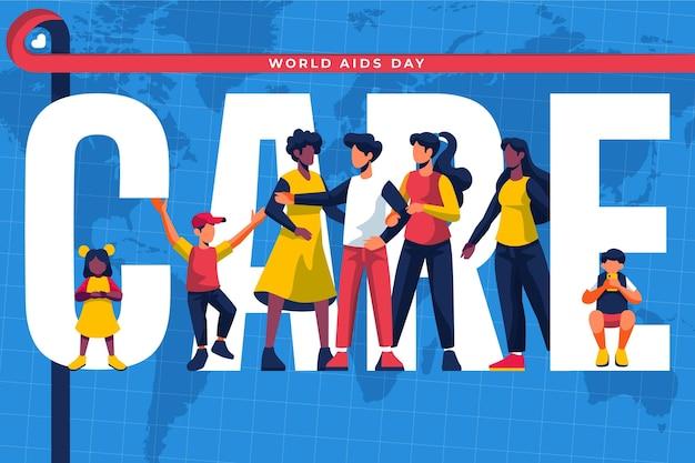 Platte ontwerp mensen geïllustreerd voor aids day-evenement