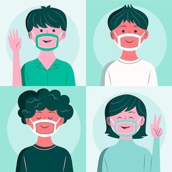 Platte ontwerp mensen met een duidelijk gezichtsmasker voor doven