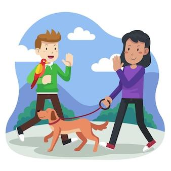 Platte ontwerp mensen met huisdieren