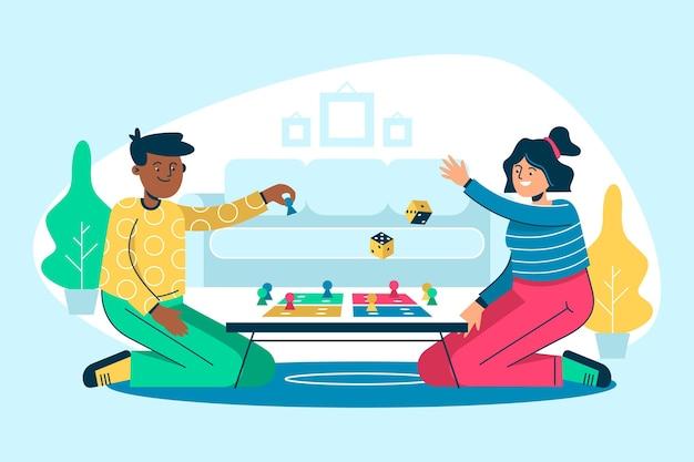 Platte ontwerp mensen spelen ludo game illustratie