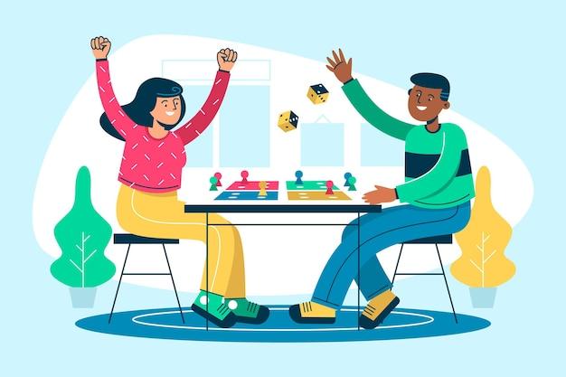 Platte ontwerp mensen spelen ludo-spel