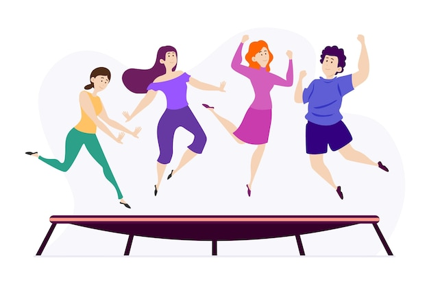 Platte ontwerp mensen springen illustratie