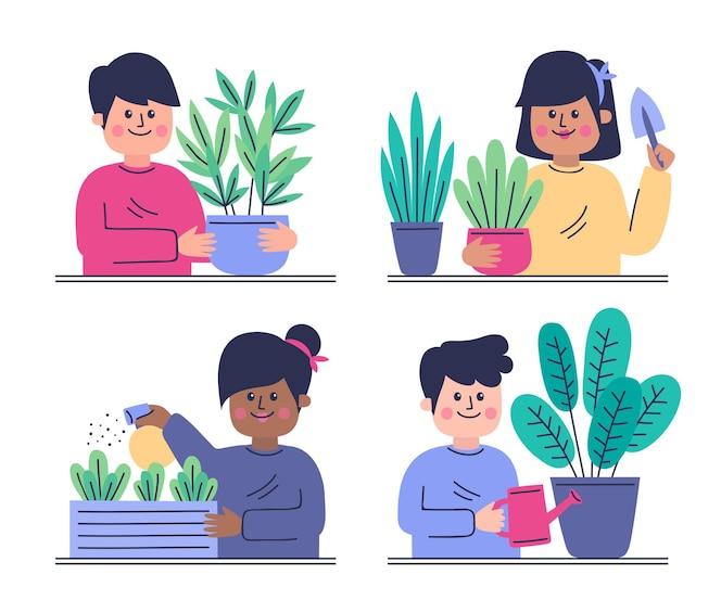 Platte ontwerp mensen tuinieren collectie