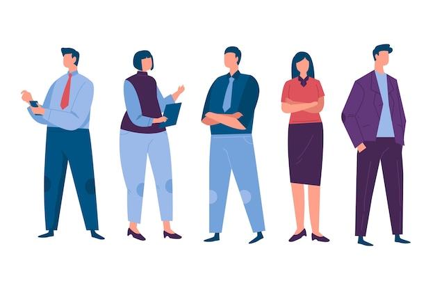 Platte ontwerp mensen uit het bedrijfsleven instellen