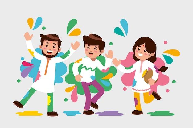 Platte ontwerp mensen vieren holi festival