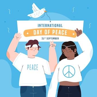 Platte ontwerp mensen vieren vredesdag