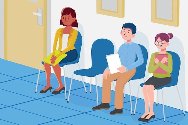 Platte ontwerp mensen wachten op sollicitatiegesprek illustratie